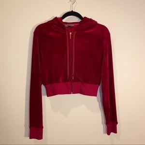 Red Velvet Highline Collective Crop Zip Sweater
